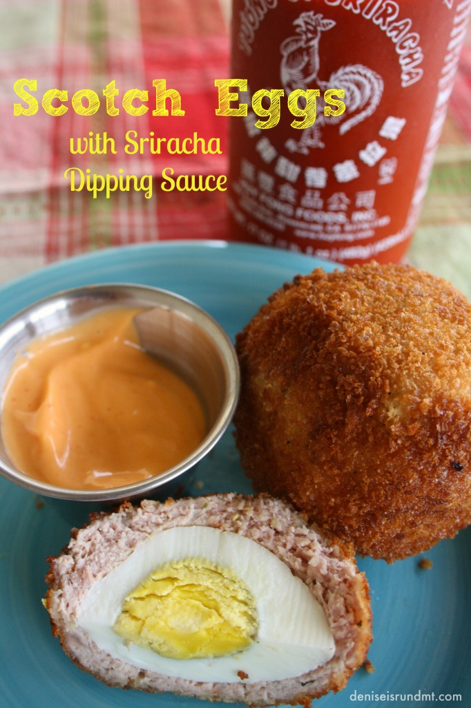 Scotch Eggs pin 682x1024 Scotch Eggs with Sriracha Dipping Sauce #SundaySupper
