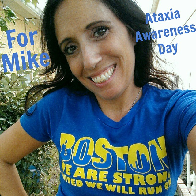 Wearing blue today for #AtaxiaAwarenessDay and to honor my friend, Mike, who fights this crippling disease every day with humor, strength and love. Mike is always the first to cheer, support and rally behind his students and friends and today we are happy to do the same for him without question. I chose to wear my #blue #BostonStrong to remind Mike to stay strong because united we stand behind YOU and an entire running community will run on for you. #awareness #educate #advocate #support #ALS #Ataxia #Parkinson #runners #love #smile
