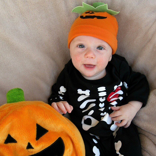 2010 - my #LittleLionMan's first #Halloween. No bones about it! He was the cutest little #pumpkin, just three months old. #TBT #smile #happy #instapicoftheday