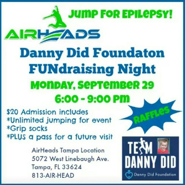 If you are in #Tampa, join me TONIGHT at @airheadsusa from 6-9pm to jump for #epilepsy to raise money for #TeamDannyDid. @dannydid1919 #Chicago #marathon #momswhoinspire #momswhomove #FitFamily #FFkids #fitmoms #epilepsyawareness #fitmadefun #fitmomsrock #FitFluential #SweatPink #charity