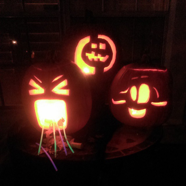 Happy Hallow's Eve-Eve-Eve! Don't let the puking glowing #pumpkin scare you! Nothing radioactive happening at the Taylor home! No #HAZMAT suit necessary to #trickortreat at our house! Can you guess which #Jackolantern belongs to which #RunDMT kid? #Halloween #fun