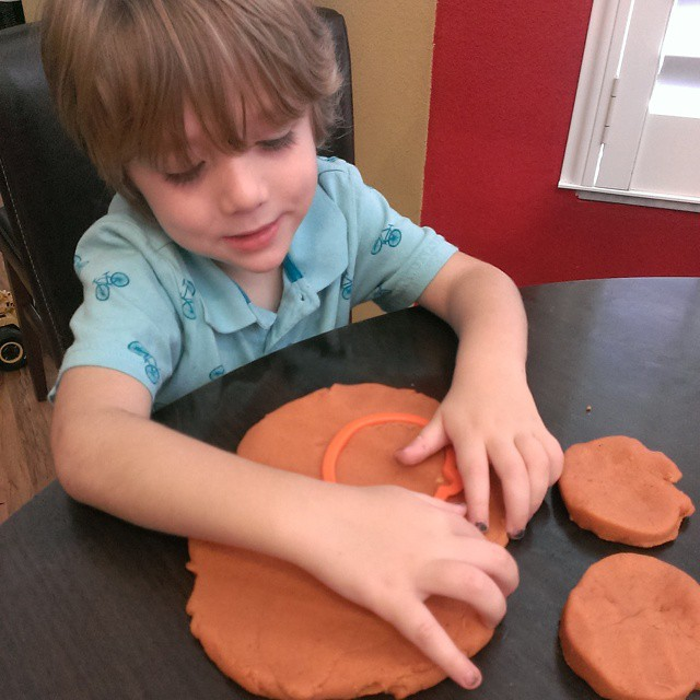 Made #pumpkin pie #playdough with my #LittleLionMan. It smells so #yummy! #homemade #fun #Halloween #Fall #happykid #preschool #crafty