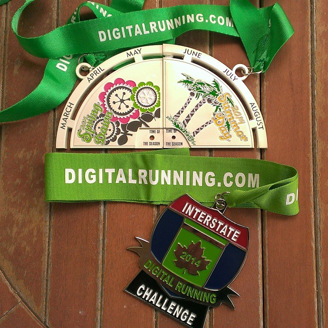 My GORGEOUS @DigitalRunning medals arrived today! The top are the first two segments to the larger interlocking Time of the Seasons Series Challenge medal. The bottom is the Interstate Challenge medal for completing two marathons in two different states. I actually ran three #marathons in three different states this year: #ChiMarathon, #tcsnycmarathon and #A1Amarathon. Man, I wish I had this beautiful bling for last Saturday's #SuncoastStriders #blingfest! Oh well. I will have all four of the Time of the Seasons pieces in time for next year's party. #willrunforbling #blingwhore #runnerd #sparkle #DigitalRunning #challenge