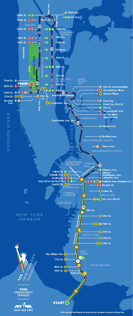 New York City Marathon 2014 Course Map