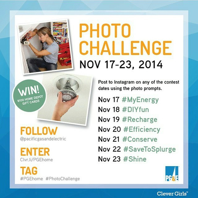 #Regram from @pacificgasandelectric - Power your next home project! Enter the #PGEhome Instagram #PhotoChallenge using the photo prompts on the corresponding dates listed for a chance at $100 gift card! Follow @pacificgasandelectric on Instragam and learn all the contest details on the link listed in the PG&E Instagram profile.  #sponsored