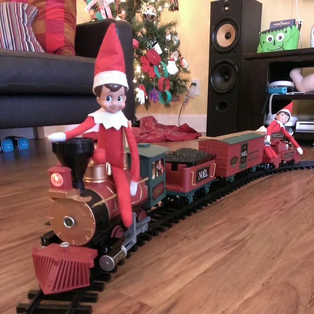 Day 13 #elfontheshelf escapades - Giggles and Twinkle boarded the Elf Express. #Christmas #fun #Elf #Day13 #instaelf