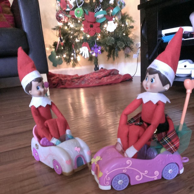 Day 21 #elfontheshelf escapades - Twinkle and Giggles are having some bumper car fun. #elfscout #Day21 #Christmas2014 #Christmas #elf #fun #instaelf