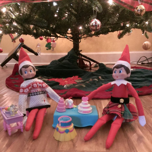 Day 22 #elfontheshelf escapades - Giggles and Twinkle throw a tea party and Giggles wears his finest #elfscout #uglychristmassweater. #Christmas2014 #Day22 #Christmas #Elf #fun #instaelf