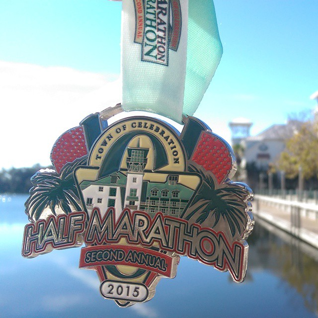 Just completed my second #halfmarathon for #2015! I absolutely LOVE the #Celebration #halfmarathon! Beautiful flat fun course through the streets of Celebration in greater #Orlando, fun #race goodies including shirts by @rawthreads, a gorgeous #medal and the post-race party ROCKS! I'll be back next year! #MedalADay #willrunforbling #blingwhore #FFcheckin #FitFluential #sweatpink #sweatcheck #instarunners #runners #runFlorida #TampaBayBloggers #SuncoastStriders