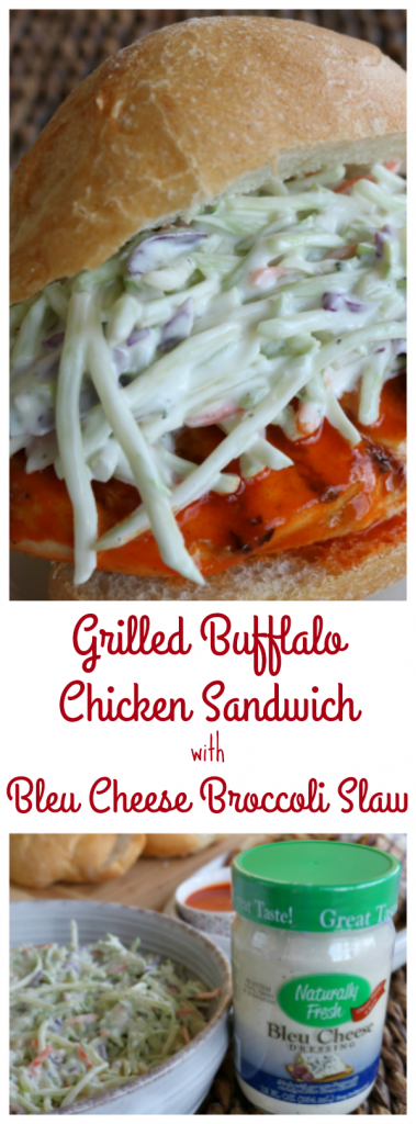 Grilled Buffalo Chicken Sandwich with Bleu Cheese Broccoli Slaw - Run DMT