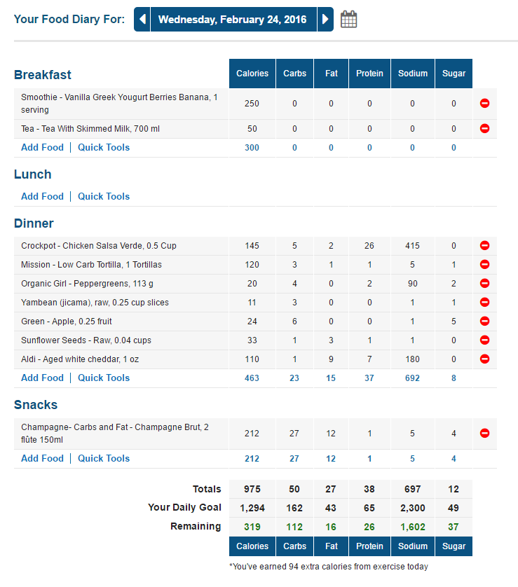 MyFitnessPal Food Log