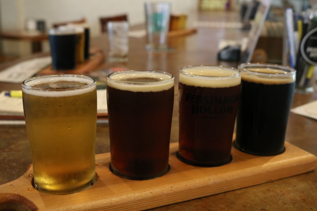 Flight of beer at Persimmon Brewing