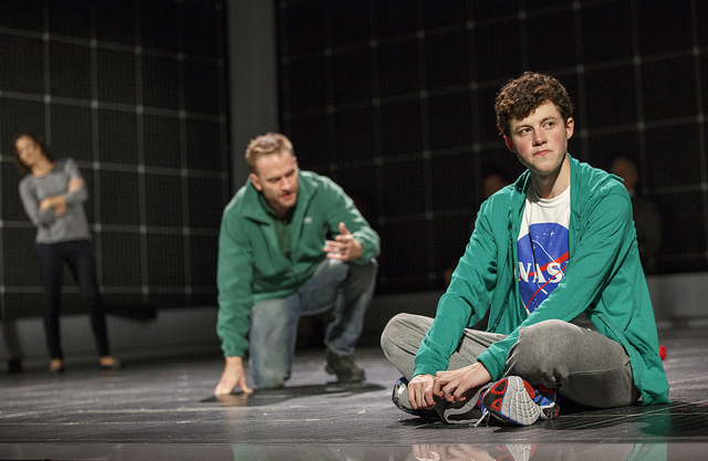 (Foreground) Adam Langdon, (Background) Felicity Jones Latta and Gene Gillette of The Curious Incident North American Tour 2016 Cast Photo Credit Joan Marcus