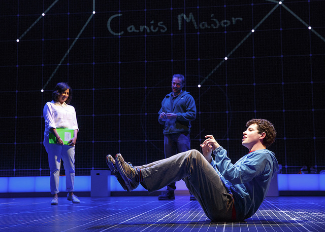 (Foreground) Adam Langdon, (Background) Maria Elena Ramirez and Gene Gillette of The Curious Incident North American Tour 2016 Cast Photo Credit Joan Marcus