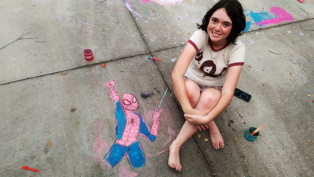 Spiderman Sidewalk Art