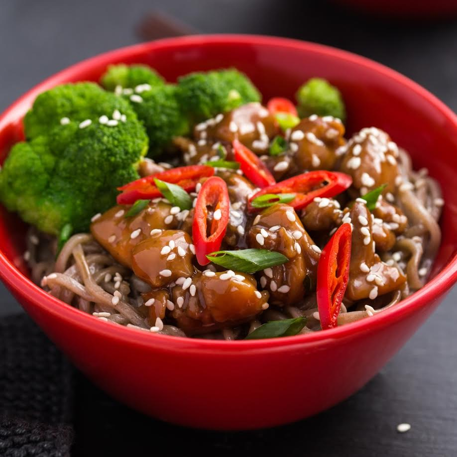Soba Noodles with Teriyaki Chicken and Broccoli