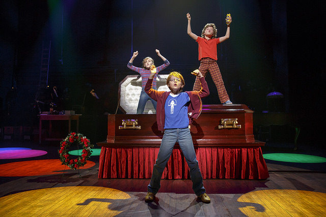 (From L) Carly Gold as 'Small Alison', Luké Barbato Smith as 'Christian' and Henry Boshart as 'John' in Fun Home. Photo: Joan Marcus