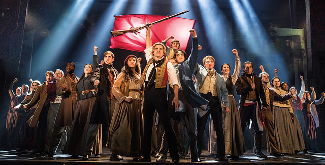 "The company of LES MISÉRABLES performs ""One Day More."" Photo by Matthew Murphy."