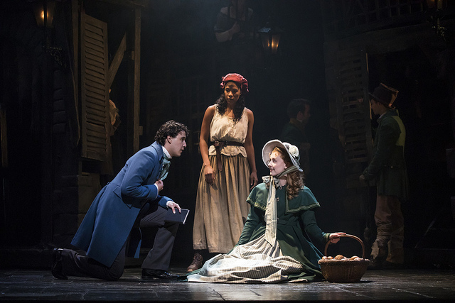 Joshua Grosso as 'Marius,' Paige Smallwood as 'Éponine' and Jillian Butler as 'Cosette' in the new national tour of LES MISÉRABLES. Photo by Matthew Murphy