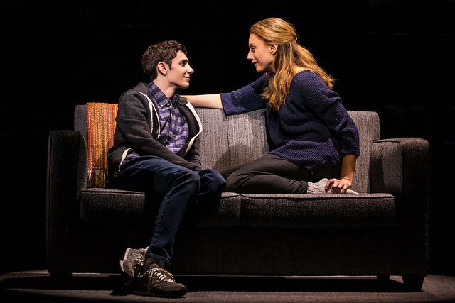 Ben Levi Ross as 'Evan Hansen' and Jessica Phillips as 'Heidi Hansen' in the First North American Tour of Dear Evan Hansen. Photo credit: by Matthew Murphy