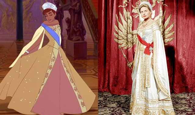 The animated Anastasia (L) and Ingrid Bergman in the live-action film Anastasia (R) - Credit the Straz Center Blog